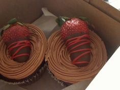 Chocolate Covered Strawberry Gourmet Cupcake from American Dream Cakes, Inc. A Food, Good Food, Food And Drink, Yummy Food, Cup Cakes, Mini Cakes, Gourmet Cupcakes, Strawberry Cupcakes, Dream Cake