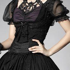 Black Beaded Boned Shoulder Strap Gothic Lolita Dress Corset Tops SKU-71106050