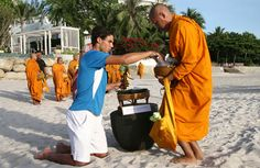 Hua Hin is popular :)   Raphael Nadal giving Alms to Monk on the beach in Hua Hin