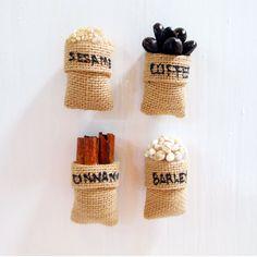 Spices Fridge Magnet, Seeds Magnet, White Sesame, Coffee, Barley, Cinnamon, Burlap Sack Magnet, Sack Magnet, Food Magnet, Fridge Magnets by Punyee on Etsy