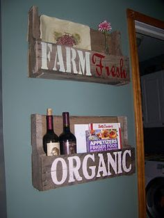 Pallet shelves - cookbook storage in the kitchen? Also Where to find them locally, I wonder. Pallet Shelves, Pallet Decor, Classy Kitchen, Cookbook Storage, Pallet Creations, Wooden Pallets, Diy Decor, Diy Furniture Projects, Family Furniture