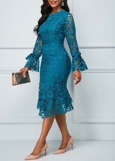Material: Polyester Silhouette: A-Line Dress Length: Mid-Calf Sleeve Length: Long Sleeve Closure: Pullover Elasticity: Inelastic. Lace Dress Styles, African Lace Dresses, African Fashion Dresses, Marine Uniform, Frack, Lace Dress With Sleeves, African Print Fashion, Classy Dress, Elegant Dresses