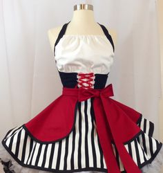 Pirate Queen Pin Up Costume Apron, Retro Apron, Cosplay by SassyFrasCollection on Etsy https://www.etsy.com/nz/listing/469171819/pirate-queen-pin-up-costume-apron-retro