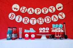 Cute Modern Red Wagon First Birthday party set-up from http://pinwheellane.etsy.com