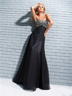 Formal Sheath Sweetheart Long Black Chiffon Evening Prom Dress Beading Crystals/SOFIE HOUSE