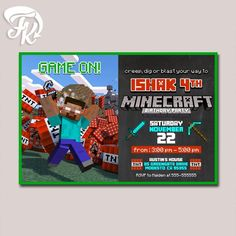 Minecraft Game On TNT Birthday Party Card Digital Invitation Kid Birthday Party…
