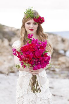 A beach bridal wedding inspiration shoot with a hot pink bougainvillea bridal bouquet and bougainvillea flower crown. Bouquet Bride, Rose Bridal Bouquet, Wedding Bouquets, Wedding Dress, Flower Boquet, Bougainvillea Wedding, Floral Wedding, Wedding Flowers, Future Mrs
