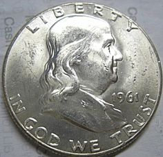 1961 Franklin Half Dollar - Brilliant Uncirculated Or Better - White Coins Half Dollar, Life Hacks, Coins, Antiques, Antiquities, Antique, Rooms, Old Stuff, Lifehacks