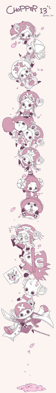 Tony Tony Chopper, cute, pile, young, childhood, different ages, time lapse, outfits; One Piece