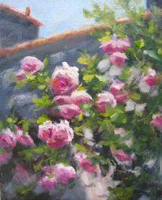 Climbing Roses- Left, painting by artist Pat Fiorello