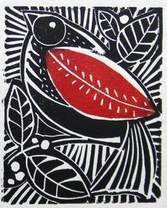 ailailail: Bird and berries lino print by Mangle Prints on Flickr. this is so lovely!