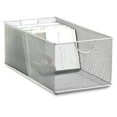 Silver Mesh DVD Bin from The Container Store. Shop more products from The Container Store on Wanelo.
