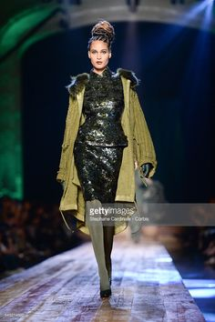 Cindy Bruna walks the runway during the Jean-Paul Gaultier Haute Couture…