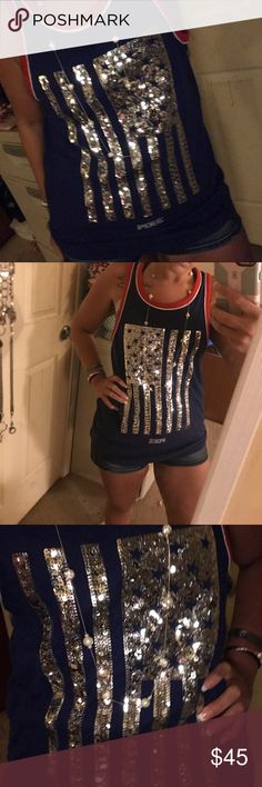 Small jersey style tank 4th of July VS PINK Small-navy-silver sequins in the shape of American Flag, NWOT, no sequins missing, absolutely PERFECT CONDITION, never worn!!! ;) PINK Victoria's Secret Tops Tank Tops