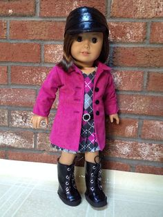 American Girl doll clothes  Le Marais Coat Cadet by SewSmallNSweet, $65.00...Wonderful combination of patterns and fabrics, nice detail work.