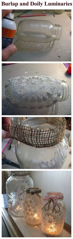 Burlap And Doily Luminaries Pictures, Photos, and Images for Facebook, Tumblr, Pinterest, and Twitter