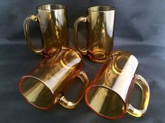 Set of 4 Vintage Amber Color Glass Cups Coffee Mug Beer Stein w/ Handles 12oz.
