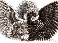 Angel drawing - angel or demon by rommel pascual Angel Warrior Tattoo, Demon Tattoo, Hulk Tattoo, Tattoo Sleeve Designs, Tattoo Designs Men, Sleeve Tattoos, Demon Wings, Ange Demon, The Crow