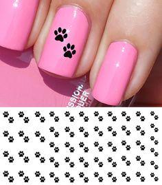 I love My Cat Paw Prints Nail Art Waterslide Decals - Salon Quality! Dog Nail Art, Finger Nail Art, Dog Nails, Bunny Nails, Toe Nail Designs, Acrylic Nail Designs, Acrylic Nails, Shellac Nails, Nail Art Stickers