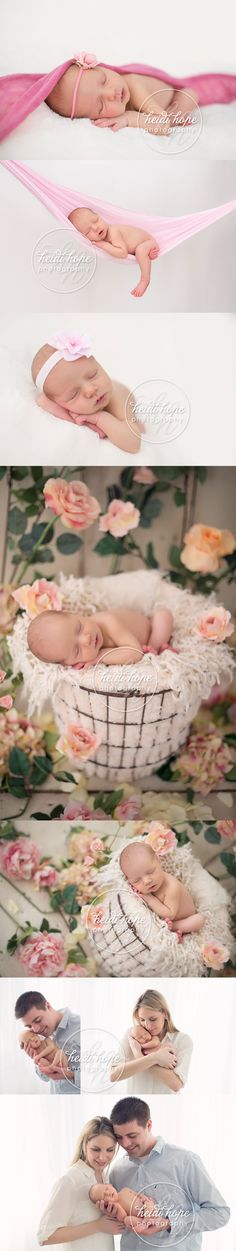 spring newborn baby girl in the flowers with family