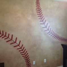 Baseball wall for a boys room.