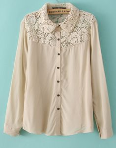 Khaki Long Sleeve Contrast Lace Embroidery Blouse - Sheinside.com