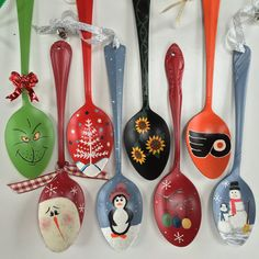 These adorable ornaments are made from a stainless steel tablespoon that has been carefully hand-painted with acrylic paint and sealed with a