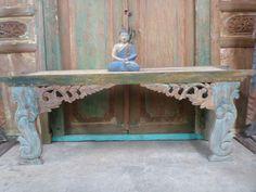 Balinese Recycled Teak TV Console Sideboard Desk Furniture Hand Carved Vintage