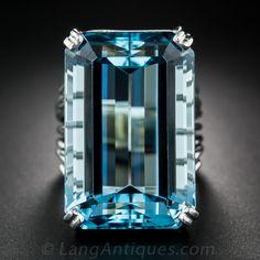 45.34 Carat Santa Maria Aquamarine and Platinum Ring