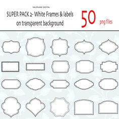 Clip Art Pictures, 50 Classic white Digital clipart frames & Labels, digital scrapbook frames