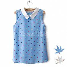 Women's Summer Doll Collar Printing Sleeveless Chiffon Shirt Blouse Tops