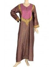 aljalabiya.com: Cotton patterned kaftan with machine embroidery (N-10279)  $134.00