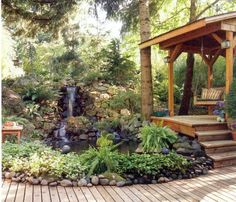 landscaping ideas for slopes | Waterfalls run on a pump because the water circulates. If you're lucky ...
