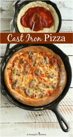 Making homemade from scratch cast iron pizza is easy. Cast iron cooking is bringing old fashioned goodness back into the kitchen. Cast Iron Pizza Recipe, Cast Iron Skillet Cooking, Iron Skillet Recipes, Cast Iron Recipes, Skillet Meals, Dutch Oven Cooking, Dutch Oven Recipes, Cooking Recipes, Dutch Oven Pizza