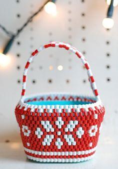Red Snowflower Basket by Hejsan Goods.