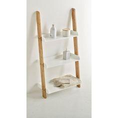 Etagère salle de bains échelle 3 plateaux, bambou,