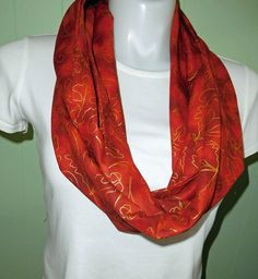 Fall Infinity Scarf, Fall Leaves infinity scarf Rust with gold scroll pattern leaves 8.5 inches wide X 82 inches around Infinity Scarves by beckyspillowshop on Etsy