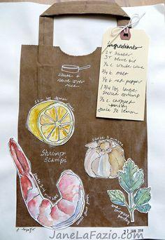 from my sketchbook ~ shrimp scampi recipe by janelafazio, via Flickr see more on her blog