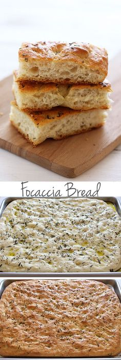 Focaccia Bread - so easy to make! Surprisingly simple but makes rich, flavorful, and chewy yet soft bread that you're going to love! Step-by-step pictures and video. - I added cherry tomatoes before baking, this was suuuuuper yummy! Yummy Recipes, Baking Recipes, Yummy Food, Scd Recipes, Cake Recipes, Recipies, Pain Pizza, Bread And Pastries, Sweet Bread