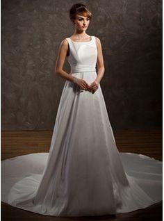 Bröllopsklänningar - $202.99 - A-linjeformat Rund-urringning Watteau-släp Taft Bröllopsklänning med Rufsar  http://www.dressfirst.com/se/A-Linjeformat-Rund-Urringning-Watteau-Slaep-Taft-Broellopsklaenning-Med-Rufsar-002011646-g11646
