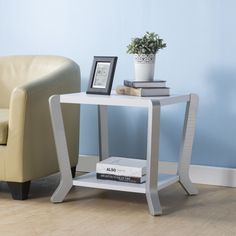 Furniture of America Cinthia Contemporary White/Silver Side Table (White & Silver)