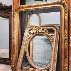 Gilded French mirror frames waiting for glass to be put back in / Frenchfinds.co.uk