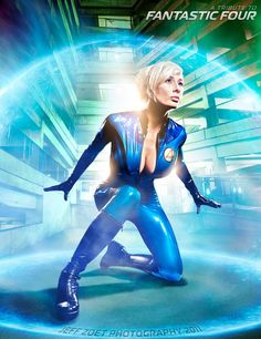 Cosplayer Marie-Claude Bourbonnais does Susan Storm of the Fantastic Four, the first female superhero in the Marvel Universe. Dig it, Jack Kirby fans!