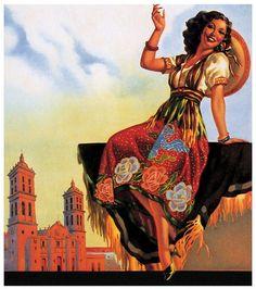 Vintage Mexican Pin-Up Girl ~ deFharo Mexican Artwork, Mexican Paintings, Mexican Folk Art, Girl Paintings, Jesus Helguera, Jorge Gonzalez, Latino Art, Spanish Art, Calendar Girls