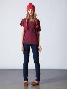 Retro Logo Drapey Tee, Lorne Skinny Bright Indigo Jeans, and Rolling in Beanie- Quiksilver Women's