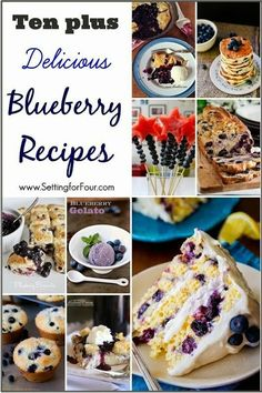 Ten plus Delicious Blueberry Recipes! Blueberries are filled with good-for-you, healthy antioxidants and are so tasty and flavorful! Roast Recipes, Fruit Recipes, Sweet Recipes, Dessert Recipes, Cod Recipes, Kale Recipes, Cream Recipes, Turkey Recipes, Potato Recipes