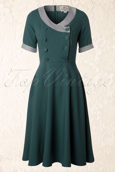 Yvonne Swing Dress in Teal 1940s Dresses, Cute Dresses, Vintage Dresses, Beautiful Dresses, Vintage Outfits, Swing Dance Dress, Tent Dress, Apron Dress, 40s Outfits
