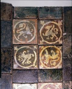 Earthenware tile, lead-glazed; lions.mosaic. 1226-1275. Yorkshire. I can make the same!