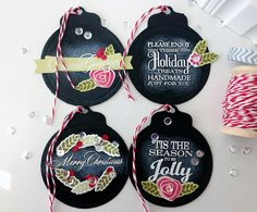Christmas Chalkboard Tags by Danielle Flanders for Papertrey Ink (September Christmas Paper Crafts, Stampin Up Christmas, Christmas Tag, All Things Christmas, Chalkboard Tags, Christmas Chalkboard, Chalkboard Paint, Handmade Gift Tags, Xmas Cards