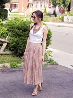 #OOTD with beaded fringe necklace, white tank top, and polka dot midi skirt